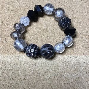 👑 silver pewter beaded stretchy fashion bracelet